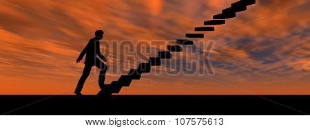 Concept or conceptual 3D male businessman on stair or steps over sunset sky background banner