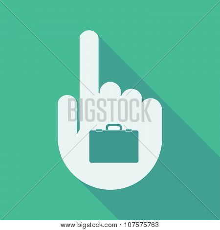 Long Shadow Pointing Finger Hand With  A Breiefcase