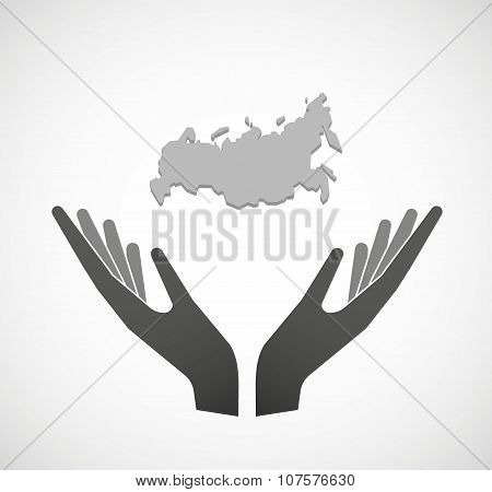 Two Vector Hands Offering  A Map Of Russia