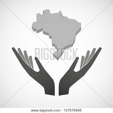 Two Vector Hands Offering  A Map Fo Brazil