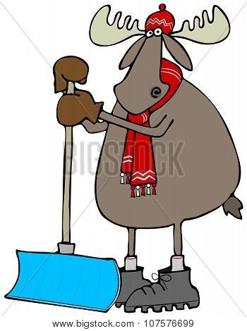 Moose leaning on a snow shovel