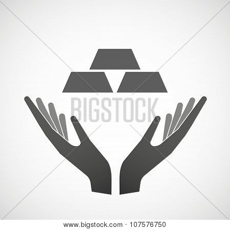 Two Vector Hands Offering Three Gold Bullions