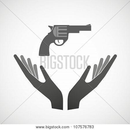 Two Vector Hands Offering A Gun