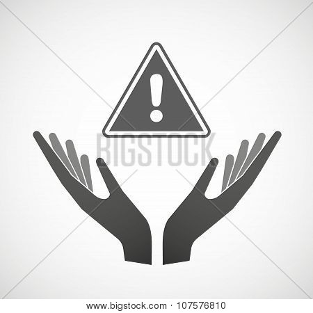 Two Vector Hands Offering A Warning Signal