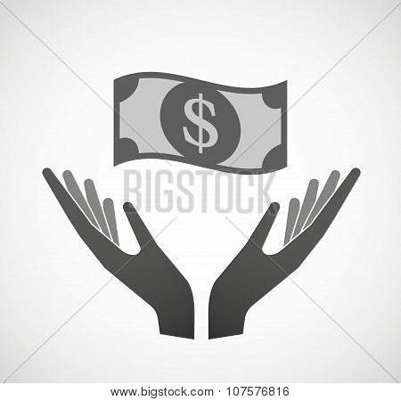 Two Vector Hands Offering A Dollar Bank Note