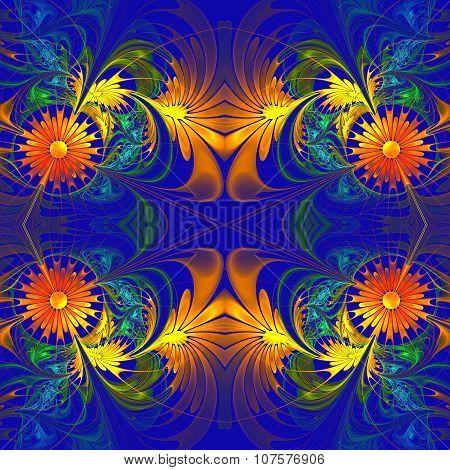 Flower Pattern. Orange And Darkblue Palette. Fractal Design. Computer Generated Graphics.