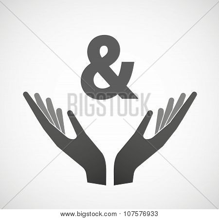 Two Vector Hands Offering An Ampersand