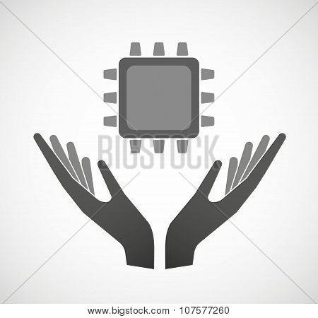 Two Vector Hands Offering A Cpu