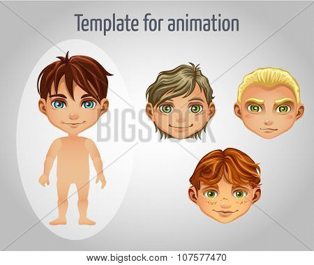 Set of four images of boys for animation