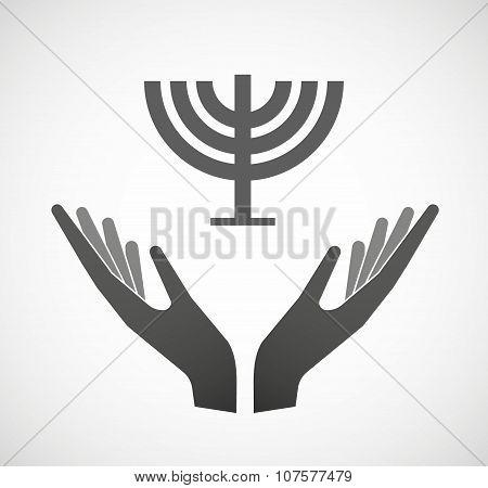 Two Vector Hands Offering A Chandelier