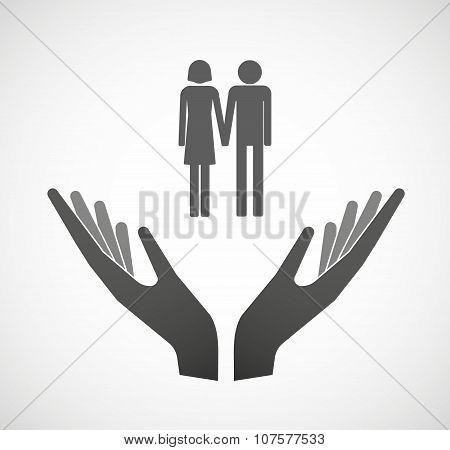 Two Vector Hands Offering A Heterosexual Couple Pictogram