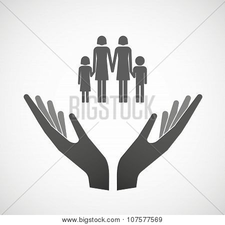 Two Vector Hands Offering A Lesbian Parents Family Pictogram