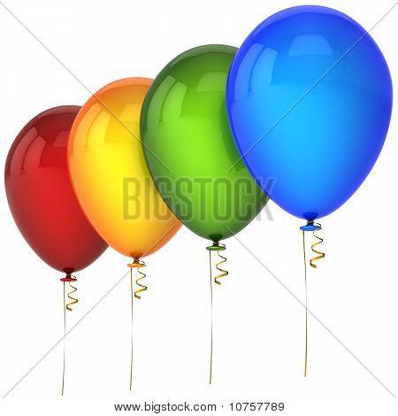 Shiny helium balloons