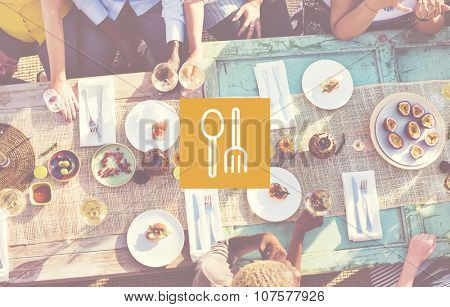 Spoon Fork Dishware Food Court Equipment Concept