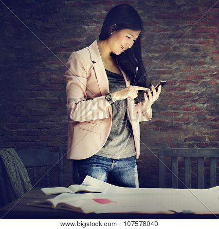 Businesswoman Secretary Using Mobile Phone Concept