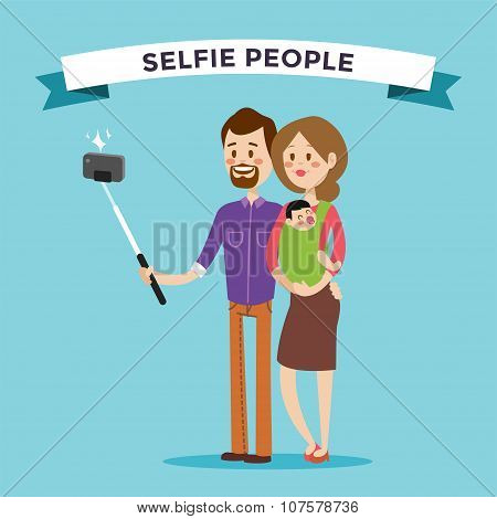Selfie family portreit vector illustration