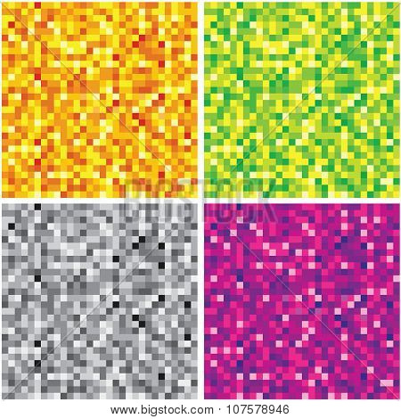 Set of Abstract Chaotic Pixel Backgrounds.