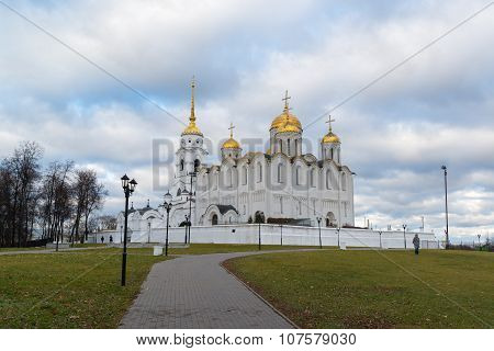 VLADIMIR, RUSSIA -05.11.2015. Uspensky Cathedral - UNESCO World Heritage Site. Golden Ring  travel.
