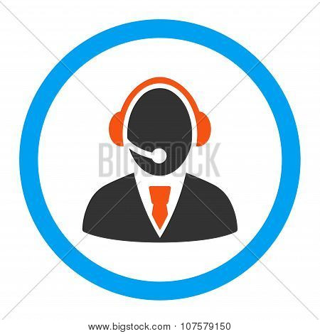 Call Center Worker Rounded Vector Icon