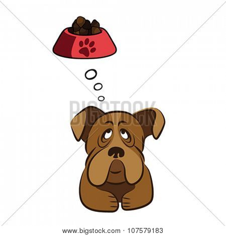 Cute dog thinking about food, vector illustration