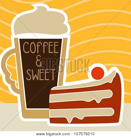 illustration of isolated a cup of coffee and sweet