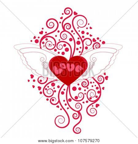 Heart with wings with floral decoration, vector illustration