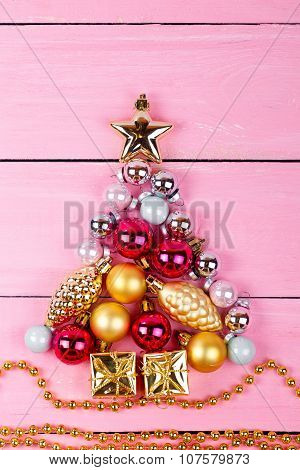 Brilliant Christmas Ornaments  In The Form Of A Fir
