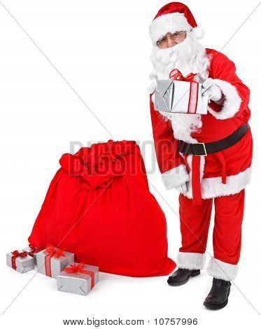 Santa Claus Gives A Present