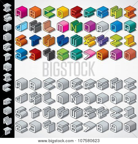 Multicolored and Monochrome Isometric 3D Font