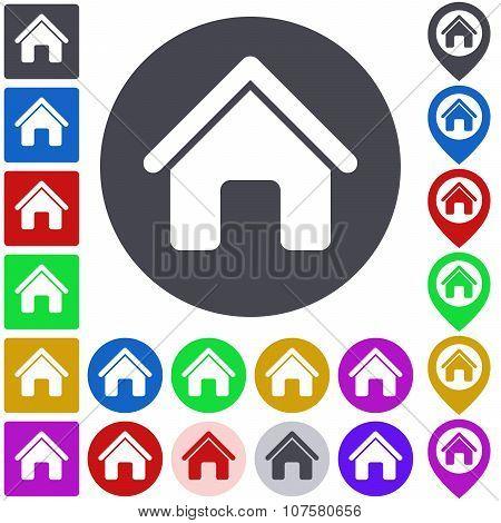 Color home icon set