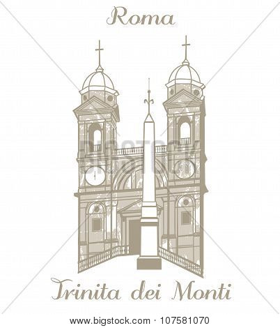 Vector Illustration Of Trinita Dei Monti