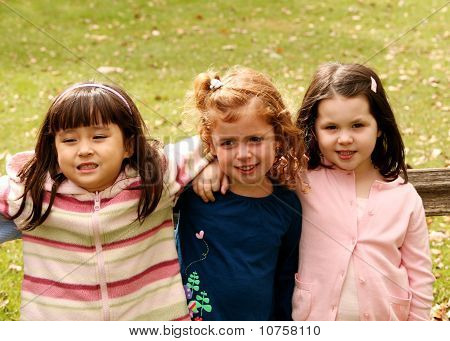 Diverse Group Of Little Girls Outside