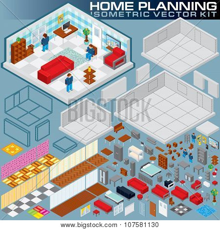 Isometric Home Plan. 3D Vector Creation Kit