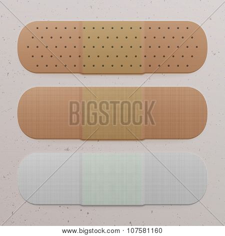 Realistic medical adhesive Bandage Set