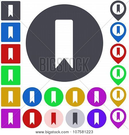 Color bookmark icon set