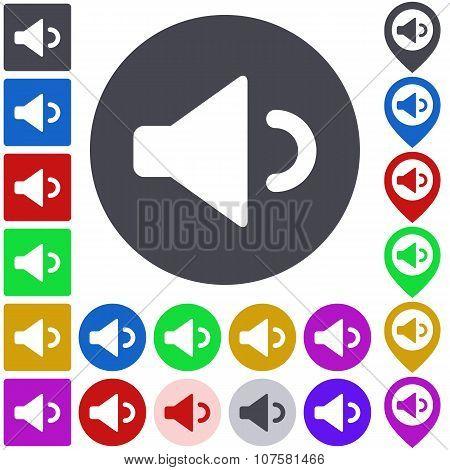 Color volume down icon set