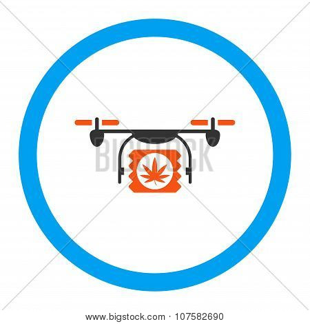 Drugs Drone Shipment Rounded Vector Icon