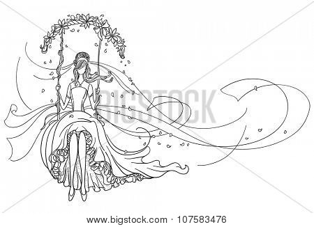 Freehand drawing of a Beautiful Bride on a swing. Black outline drawing.