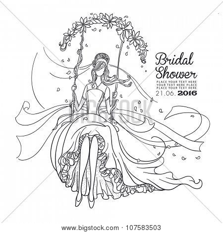 Freehand drawing of a Beautiful Bride on a swing. Black outline drawing. Bridal Shower invitation card.