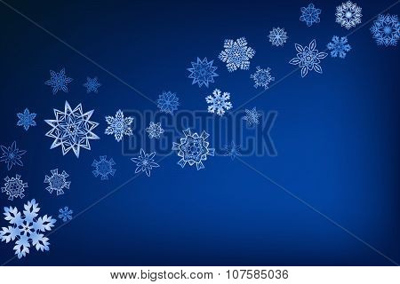 Winter blue background with snowflakes and place for text
