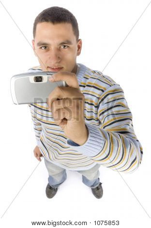 Headshot Of Young Man With Palmtop / Mobile Phone