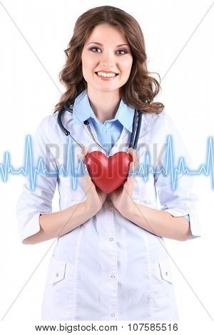 Healthcare and medicine concept. Young beautiful doctor