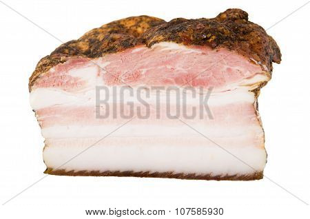 Piece Of Bacon Isolated On White Background