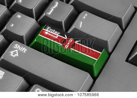 Enter Button With Kenya Flag