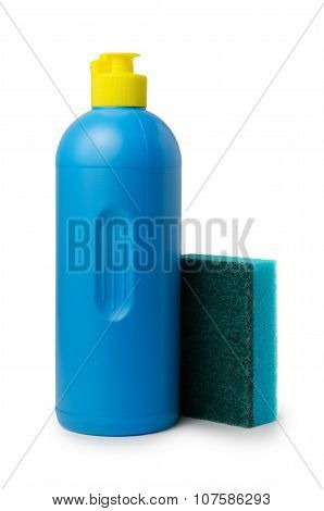 Bottle Of Detergent And Kitchen Sponge