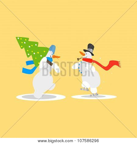 Two Funny Snowmen with a Christmas Tree. Vector Illustration