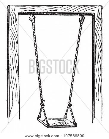 Swing, vintage engraved illustration. Dictionary of words and things - Larive and Fleury - 1895.