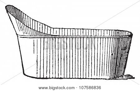 Bathtub, vintage engraved illustration. Dictionary of words and things - Larive and Fleury - 1895.