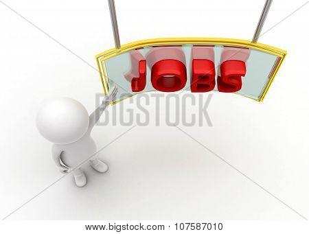 "3D Man Presenting "" Jobs On Presentation Board "" Concept"