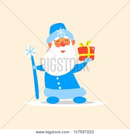 Father Frost with a Present, Vector Illustration